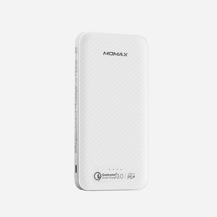 MOMAX IPOWER MINIMAL 10000MAH TYPE-C PD 18W + QC3.0 EXTERNAL BATTERY PACK (2-PORT USB-A + 1-PORT TYPE-C) WHITE