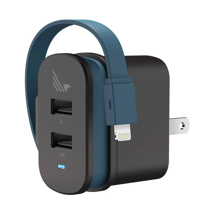 WILDFLAG - Wall Charger 2 Port A+L, Usb A 5W + Lightning 12W [WF-WLX004BK]